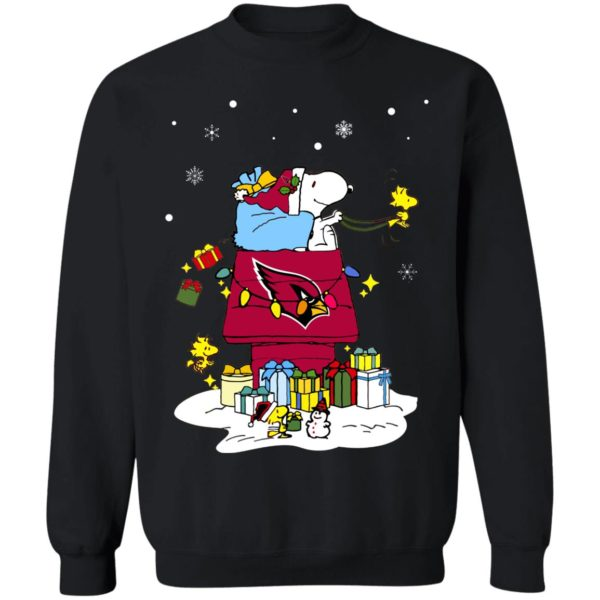Arizona Cardinals Santa Snoopy Wish You A Merry Christmas Shirt