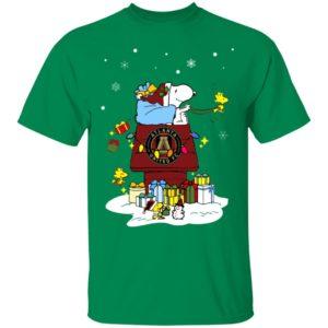 Atlanta United FC Santa Snoopy Wish You A Merry Christmas Shirt