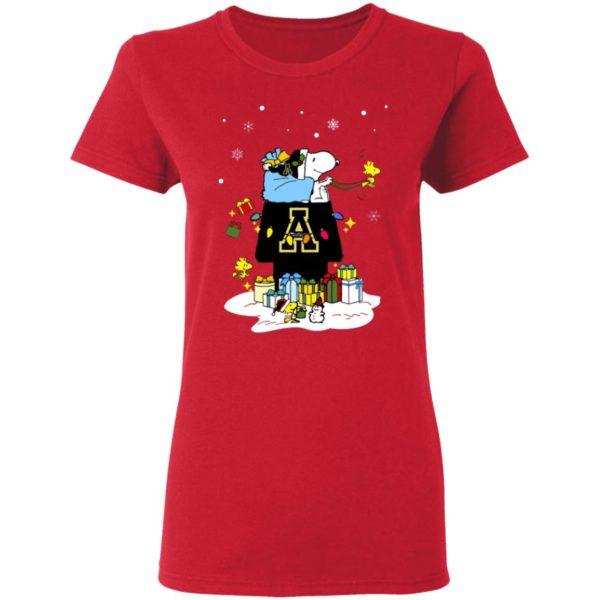 Appalachian State Mountaineers Santa Snoopy Wish You A Merry Christmas Shirt