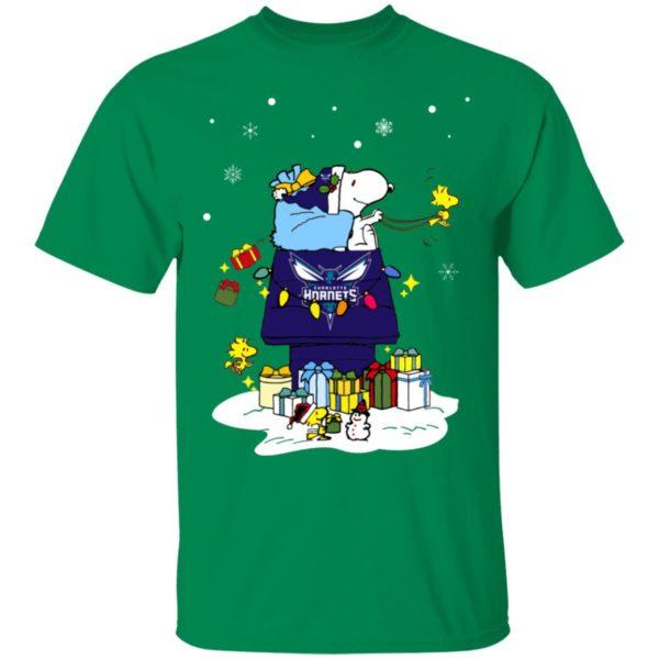 Charlotte Hornets Santa Snoopy Wish You A Merry Christmas Shirt