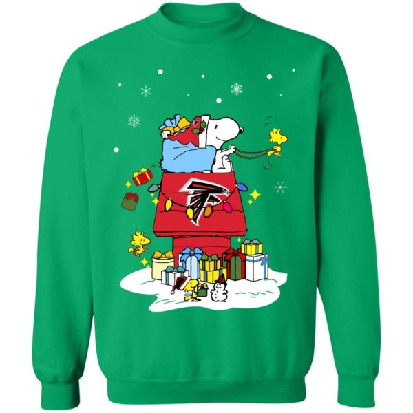 Atlanta Falcons Santa Snoopy Wish You A Merry Christmas Shirt