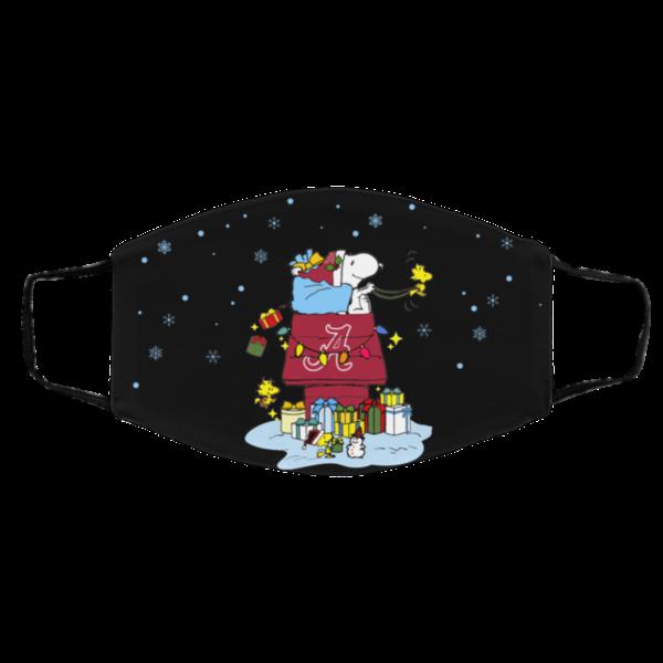 Alabama Crimson Tide Santa Snoopy Wish You A Merry Christmas face mask