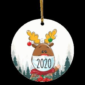 Reindeer Wearing Mask Christmas Quarantine 2020 Ornament – Pandemic 2020 Decorative Christmas Ornament