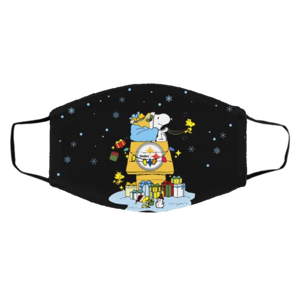 Pittsburgh Steelers Santa Snoopy Wish You A Merry Christmas face mask
