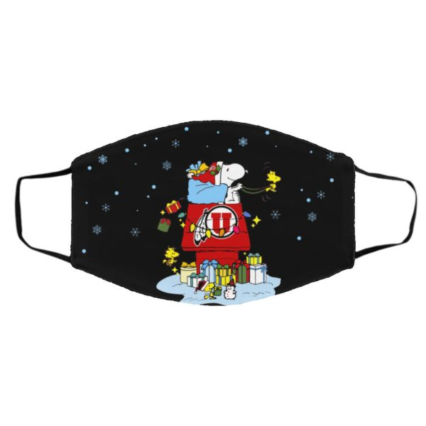 Utah Utes Santa Snoopy Wish You A Merry Christmas face mask