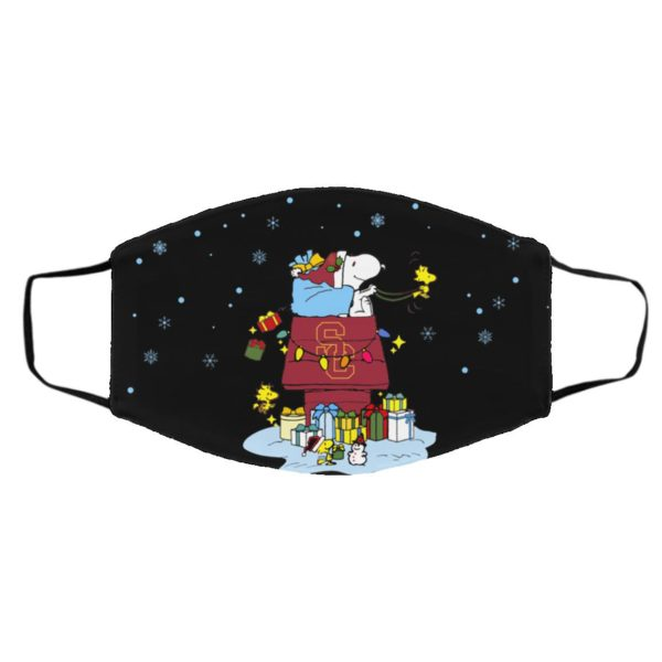 USC Trojans Santa Snoopy Wish You A Merry Christmas face mask