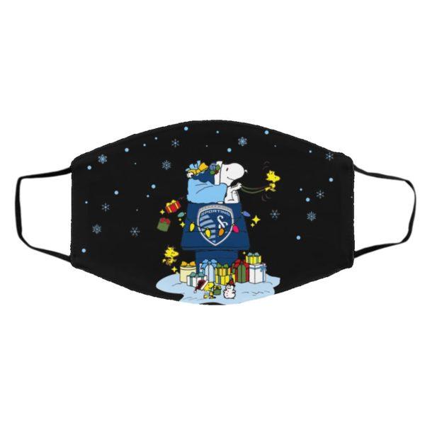 Sporting Kansas City Santa Snoopy Wish You A Merry Christmas face mask