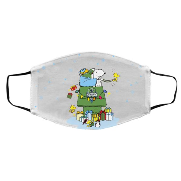 Seattle Sounders FC Santa Snoopy Wish You A Merry Christmas face mask