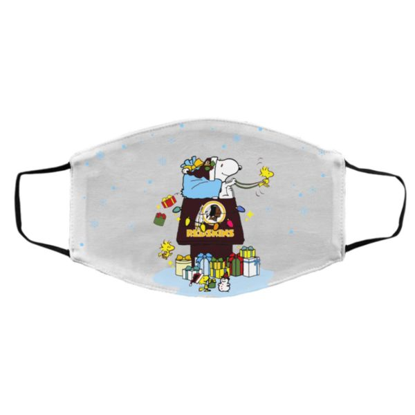 Washington Redskins Santa Snoopy Wish You A Merry Christmas face mask
