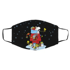 Portland Trail Blazers Santa Snoopy Wish You A Merry Christmas face mask