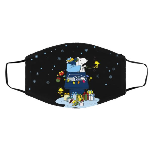 Seattle Seahawks Santa Snoopy Wish You A Merry Christmas face mask