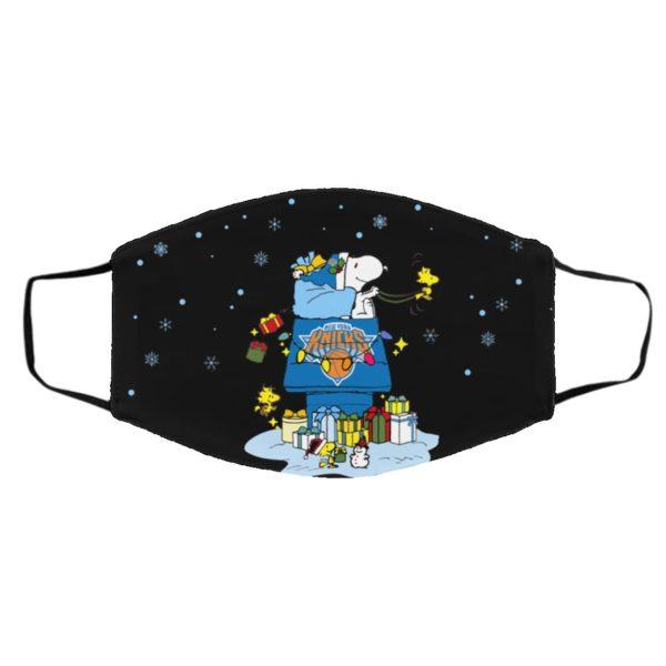 New York Knicks Santa Snoopy Wish You A Merry Christmas face mask