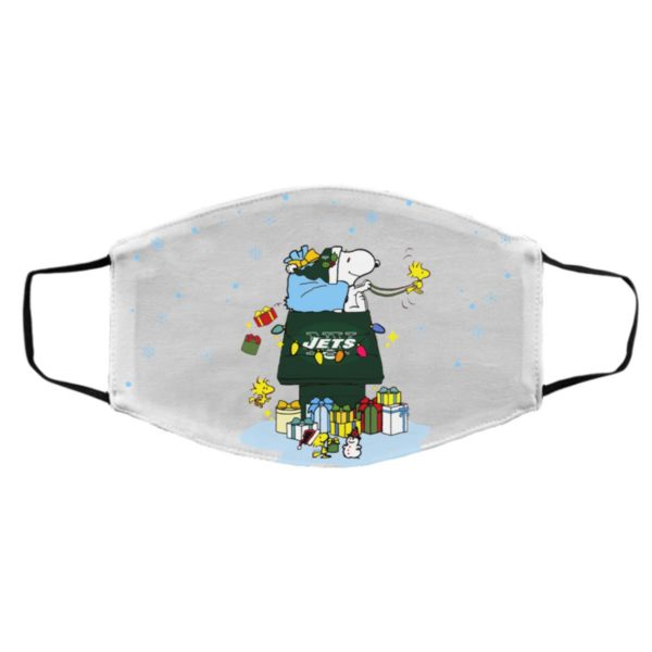 New York Jets Santa Snoopy Wish You A Merry Christmas face mask