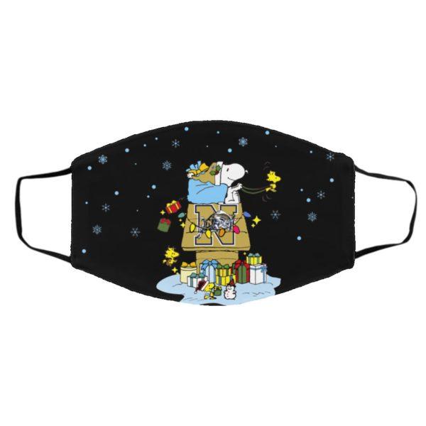 Navy Midshipmen Santa Snoopy Wish You A Merry Christmas face mask