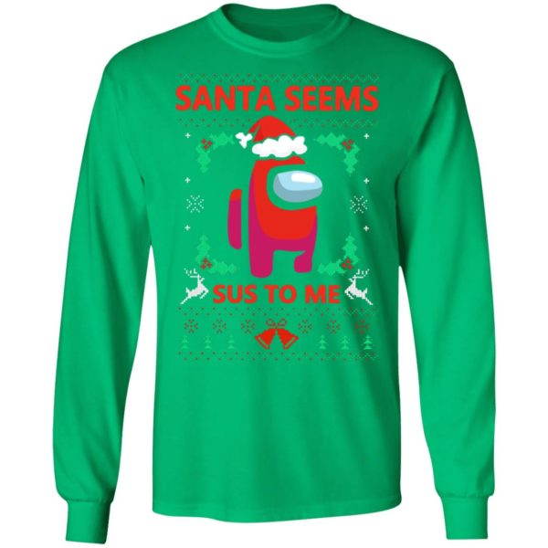 Santa Seems Sus To Me Among Us Ugly Christmas Sweatshirt