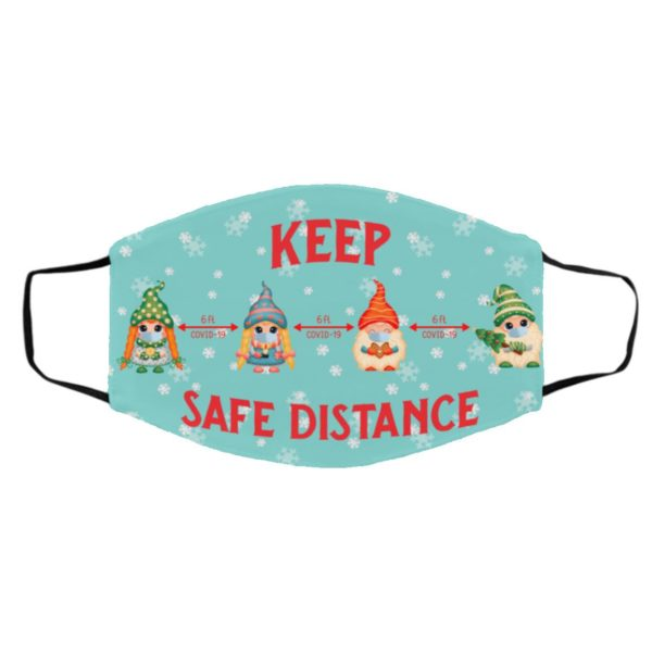 Gnome 6 ft Keep Safe Distance At Christmas Face Mask