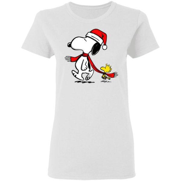 Santa Hat Snoopy And Woodstock Walking Christmas shirt