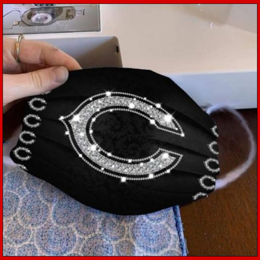 Chicago Bears glitter diamond cloth face mask reusable
