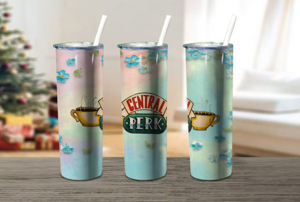 Central Perk Love Coffee Christmas Skinny Tumbler