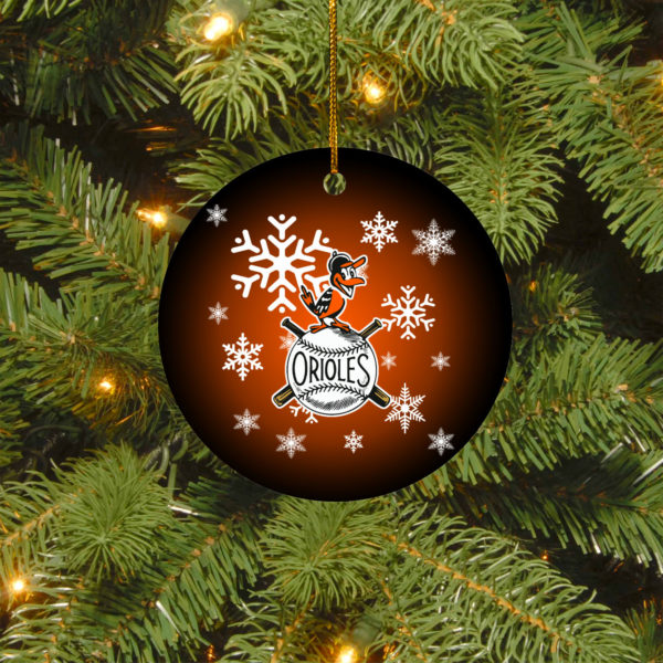 Baltimore Orioles Merry Christmas Circle Ornament
