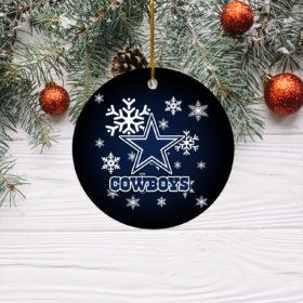 Dallas Cowboys Christmas Merry Christmas Circle Ornament