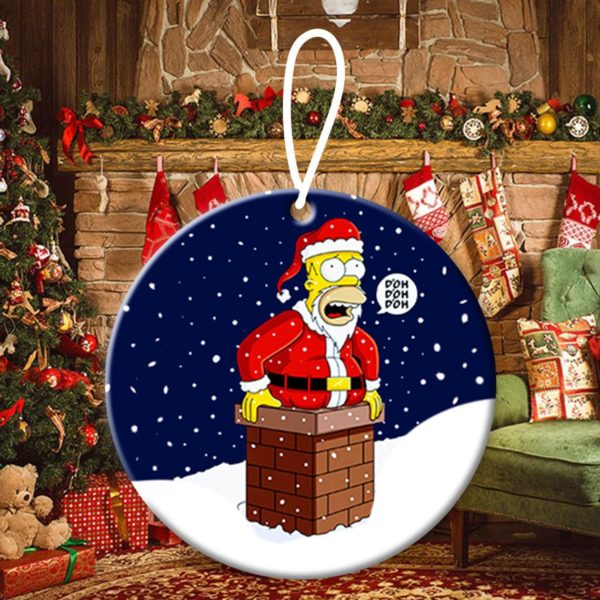 Santa Homer Simpson Christmas Ornaments Funny Holiday Gift (2)
