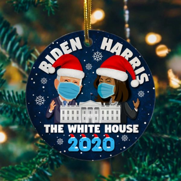 Biden Harris In The White House Joe Biden For President Anti Trump 2020 Christmas Decorative Ornament