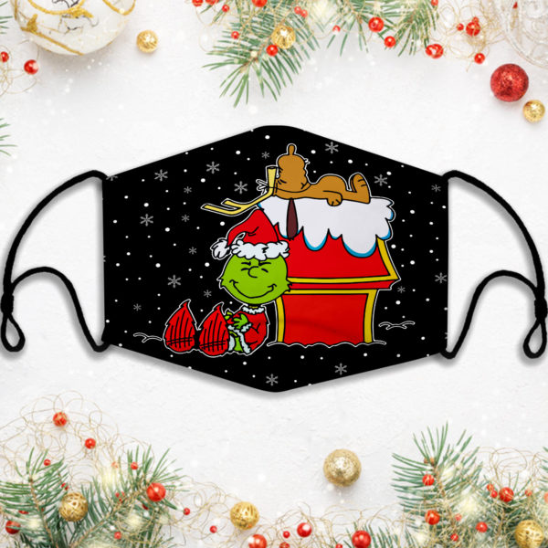 Snoopy Charlie Brown Being Grinch Merry Face Mask