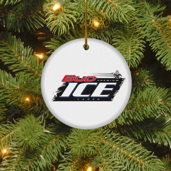 Bud Ice Merry Christmas Circle Ornament