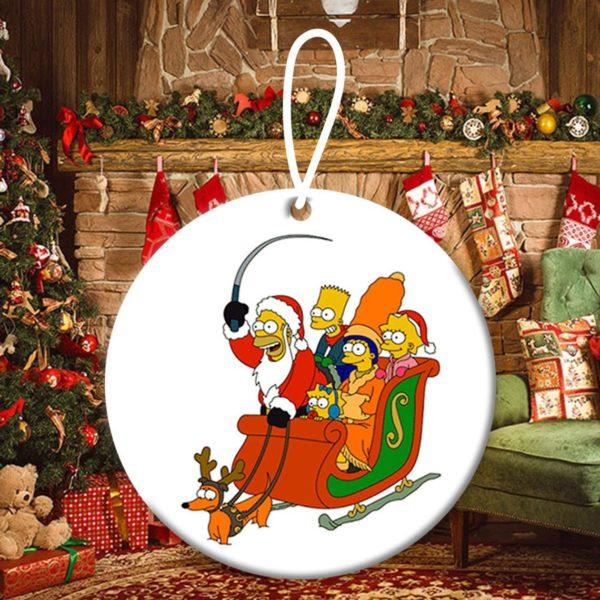 Santa Homer Simpson Family Christmas Ornaments Funny Holiday Gift