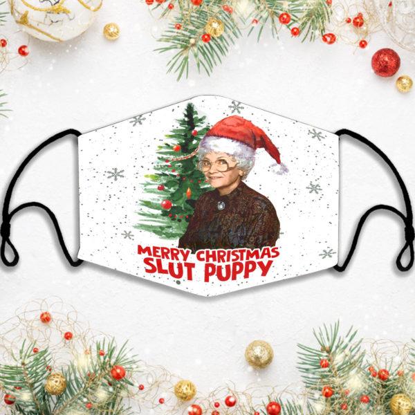 Merry Christmas Slut Puppy Face Mask