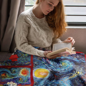 Snoopy The Starry Night Van Gogh Fleece Blanket, Sherpa Blanket