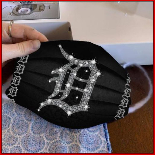 Detroit Tigers glitter diamond cloth face mask reusable