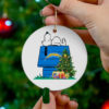 Los Angeles Chargers Snoopy Christmas Circle Ornament