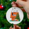 Denver Broncos Snoopy Christmas Circle Ornament