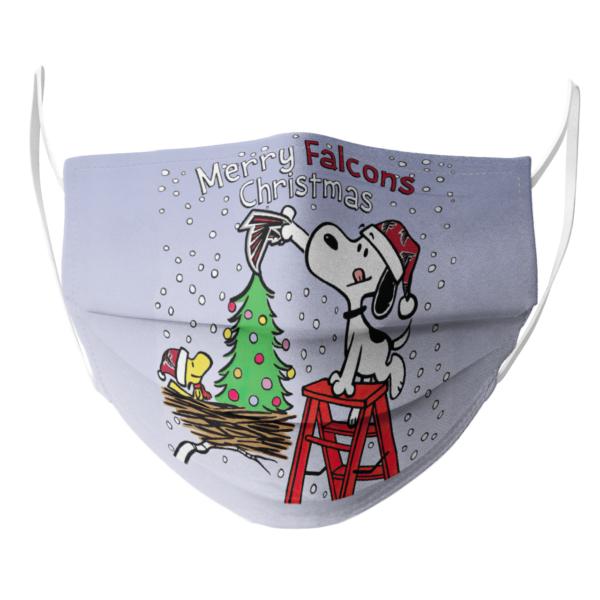 Snoopy and Woodstock Merry Atlanta Falcons Christmas face mask
