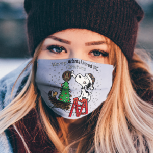 Snoopy and Woodstock Merry Atlanta United FC Christmas face mask