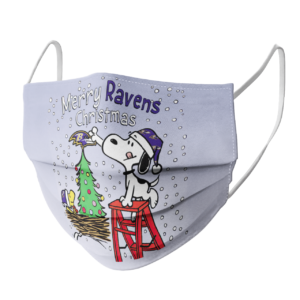 Snoopy and Woodstock Merry Baltimore Ravens Christmas face mask