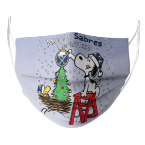 Snoopy and Woodstock Merry Buffalo Sabres Christmas face mask
