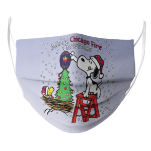 Snoopy and Woodstock Merry Chicago Fire Christmas face mask
