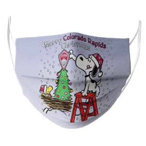 Snoopy and Woodstock Merry Colorado Rapids Christmas face mask