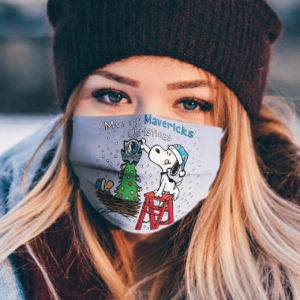 Snoopy and Woodstock Merry Dallas Mavericks Christmas face mask