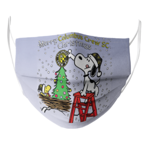 Snoopy and Woodstock Merry Columbus Crew SC Christmas face mask