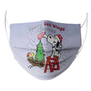 Snoopy and Woodstock Merry Detroit Red Wings Christmas face mask