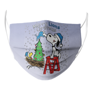 Snoopy and Woodstock Merry Detroit Lions Christmas face mask