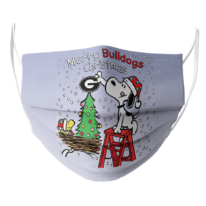 Snoopy and Woodstock Merry Georgia Bulldogs Christmas face mask