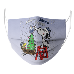 Snoopy and Woodstock Merry Edmonton Oilers Christmas face mask