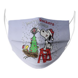 Snoopy and Woodstock Merry Houston Rockets Christmas face mask