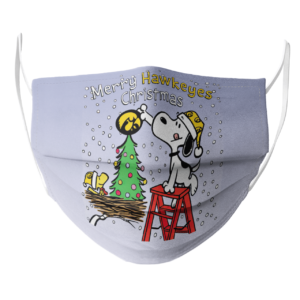 Snoopy and Woodstock Merry Iowa Hawkeyes Christmas face mask