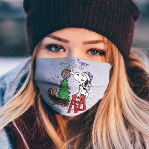 Snoopy and Woodstock Merry LSU Tigers Christmas face mask